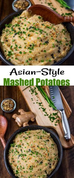 "Asian-Style Mashed Potatoes Pin - Not a ""pedestrian"" potato recipe, Asian-Style Mashed Potatoes get their delicious flavor from roasted garlic, wasabi, and sesame oil, and finished off with fresh chives or scallions, and a generous sprinkling of furikake! A perfect side dish for your Asian main... #Asianmashedpotatoes #wasabimashedpotatoes #sesamemashedpotatoes #roastedgarlicmashedpotatoes #Asiansides #potatorecipes #furikakepotatoes"