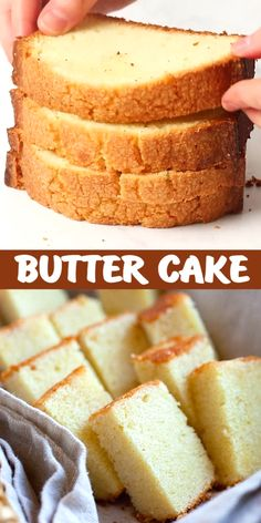 Butter Cake – the BEST butter cake recipe you'll find online. This fail-proof recipe yields sweet, buttery and rich cake that you can't & won't stop eating! Sponge Cake Recipes, Pound Cake Recipes, Easy Cake Recipes, Sweet Recipes, Baking Recipes, Cookie Recipes, Recipes With Cake Flour, Yellow Sponge Cake Recipe, Genoise Sponge Cake Recipe