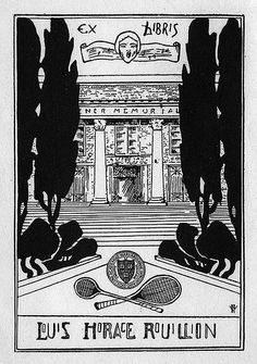 ex libris | bookplate of Louis Horace Rouillion] | Description: States, 'Ex Libris Louis Horace Rouillion;' depicts a building with columns, trees, a seal, and two racquets. Signed at bottom right with unidentified monogram.  Format: 1 print, b&w, 9 x 7 cm.  Source: Pratt Institute Libraries, Special Collections 169a (sc00375)   Pratt Libraries Website For inquiries regarding permissions and use fees, please contact: rightsandrepro.library@pratt.edu.