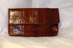 Vintage 1980s Margolm brown snakeskin clutch reddish brown
