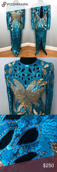 Vintage Teal and Gold Beaded Sequin Gown This gown is seriously rare and one of a kind! In next to perfect condition! Turn all if the heads in this glamorous and bold gown with intrecut cutouts. Slight fraying in some cutouts but hardly noticable otherwise no damage. It belonged to my aunt and she was the original owner. ✨👗 Size Labeled as Medium. Please check your mesurments before purchasing. Mesurments taken laying flat and doubled.👗✨ Bust: 36 Waist: 28 Hip: 36 ✨👗 No stretch. Need more…
