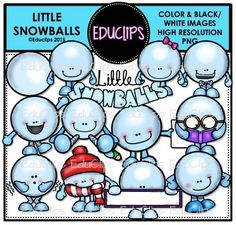 A collection of little snowball characters doing different activities and in different poses. The set includes a basic snowball (without legs or arms!).