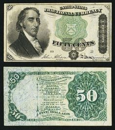 Fr. 1379 50¢ Fourth Issue Dexter Very Fine. Samuel Dexter is on the left of this Fourth Issue note with the blue right end that was instituted as an anti-counterfeiting measure.