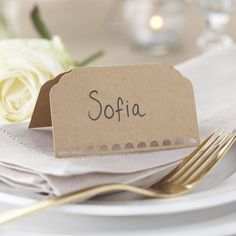 Ginger Ray Plain Kraft Wedding Place Cards, Brown >>> More info could be found at the image url.