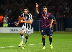 Alvaro Morata of Juventus celebrates scoring his team's first goal during the UEFA Champions League Final between Juventus and FC Barcelona at Olympiastadion on June 6, 2015 in Berlin, Germany.