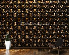 Wine Bottle Wall wall mural room setting