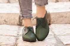 Schließen Sie grün Lederschuhe gewebte Oxford Schuhe von BangiShop