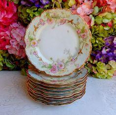 9 Beautiful Antique Limoges Porcelain Plates ~ Drop Rose ~ Gold Gilt #BawoDotterLimoges