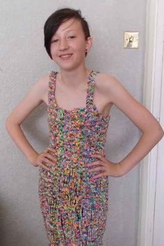 Rainbow loom band dress