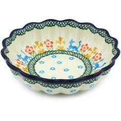 Polish Pottery 6-inch Scalloped Fluted Bowl | Boleslawiec Stoneware | Polmedia H2306H