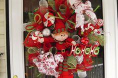 Deco Mesh Elf Wreath by WreathsEtc on Etsy