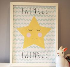A beautiful modern print of a star, perfect for a baby or childs bedroom/nursery. Featuring a twinkling star and a soft wavey background. (not framed)It is available in different colour wavey backgrounds, just ask us!This print looks just gorgeous in a babies nursery or young childs bedroom. We also have 2 other matching prints in this range - a Cloud and a Moon so you could have a set of 3! Featuring the wording: Twinkle Twinkle (which can be altered to suit your nursery theme)Printed on…