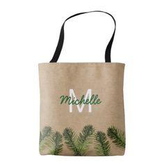 Rustic Brown Green Festive Foliage Tote Bag - accessories accessory gift idea stylish unique custom