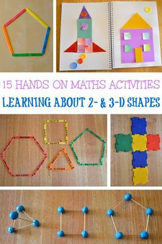 15 fun and hands-on learning activities for teaching children about and shapes and their properties. Great for preschool, kindergarten and first grade. Learning Shapes for Toddlers Shape Activities Kindergarten, 3d Shapes Activities, Geometry Activities, Teaching Shapes, In Kindergarten, Learning Activities, Preschool Activities, Babysitting Activities, Preschool Learning