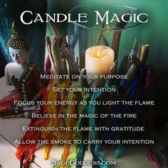 Candle Magic: Meditate on your purpose, set your intention. Focus your energy as you light the flame. Believe in the magic of the fire. Extinguish the flame with gratitude and allow the smoke to carry your intention. Wiccan Witch, Magick Spells, Candle Spells, Candle Magic, Witch Potion, Green Witchcraft, Healing Spells, Trauma, Eclectic Witch