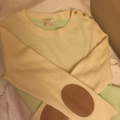 J.Crew sweater with suede elbow pads J.Crew cream and pastel mint sweater with suede elbow pads and shoulder button details. Worn once. J. Crew Sweaters Crew & Scoop Necks