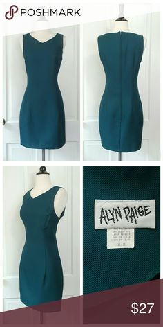 Alyn Paige Teal V-Neck Sleeveless Dress Alyn Paige teal v-neck sleeveless dress, zips in back. Tag lists size as 11/12. Alyn Paige Dresses