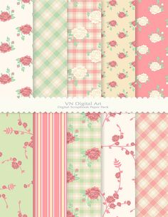 "Digital Paper, Rose Garden Digital Scrapbook Paper Pack (8.5x11""-300 dpi) -- Instant Download -- 10 Digital papers -- 213"