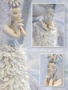 """Sunning Cake Art ~ """"Miss Noël Blanche"""" Cake   :)   ~ All handmade and totally edible  ~ Gorgeous work!"""
