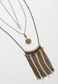 layered necklace with chain and bead fringe (original price, $18) available at #Maurices