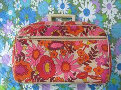 Retro Flower Daisy Little Suitcase Luggage with Lock and Key Vintage Floral Canvas Pattern Travel Case Briefcase.tinkerztreasure, via Etsy.