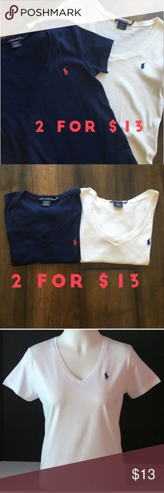 2 Ralph Lauren Tshirts $13 - XL White and Navy Ralph Lauren V Neck Tshirt - no signs of wear - XL - Excellent condition - 1 for $10 available in closet. Ralph Lauren Tops Tees - Short Sleeve