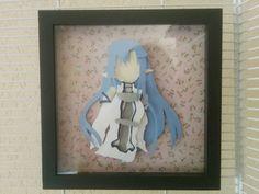 "Blue Fairy Asuna with Sword Layered Paper Art Piece 8""x8"" Shadowbox"