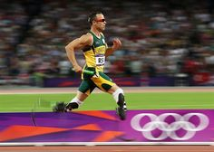 Oscar Pistorius of South Africa competes during the Men's 4 x 400m Relay Final.