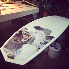 """WAX SURF- Laying down some new graphics and glass on this new 6'2"""" Chevron surfboard ... We're excited to get this stick to it's new owner!!! Waxsurfco.com"""