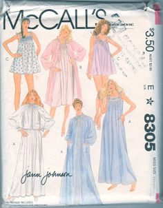 McCalls 8305  1980s Misses Designer NIGHTGOWN Robe Bed Jacket Baby Doll Pajamas Jann Johnson smocking transfer womens vintage sewing pattern by mbchills Baby Doll Pajamas, Vintage Outfits, Vintage Fashion, Vintage Clothing, Nightgown Pattern, Pajama Pattern, Vintage Sewing Patterns, Fabric Patterns, Sewing Ideas