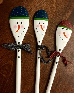 Snowman wooden spoons by me