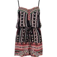 Black tribal print strappy playsuit - playsuits / jumpsuits - sale - women