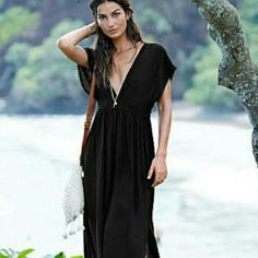 Victoria Secret long swimsuit coverup/casual dress Long black cover up dress, deep v neck Victoria's Secret Swim Coverups