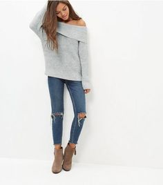 be1a2a2238c50 BNWT New Look Grey Ribbed Bardot Jumper Small UK 10  fashion  clothing   shoes