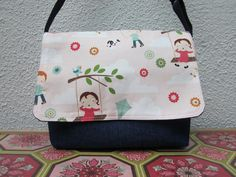 Kids Messenger bag - Adjustable bag - Sling Bag - Girls bag - Riley Blake - Fly a Kite. $25.00, via Etsy.
