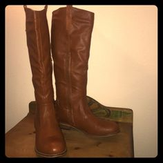 """Bamboo Camel Colored Faux Leather Knee High Boots Excellent condition no flaws knee high interior zipper, these have not been worn much and very cute. Soft interior and heel is only 1"""" tall. Great with skirts, dresses, shorts, skinny jeans and regular jeans. Bamboo Shoes Heeled Boots"""