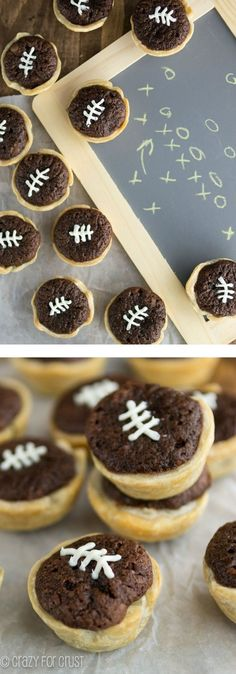 Mini Brownie Football Pies | crazyforcrust.com | Perfect for game day! by jan