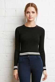 Varsity-Stripe Ribbed Sweater | Forever 21 - 2000156674024