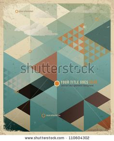 Abstract Retro Geometric Background with clouds. Vector Illustration - stock vector