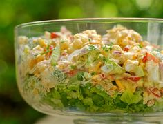 Super Crunch Salad -Who doesn't love a super crunchy, veggie-loaded salad with sharp, tangy cheese and creamy dressing? This boasts all of these qualities and is, hands down, one of my absolute favorite salads. What's more, this salad was created by me. It's unique. So when you make it, chances are, there won't be ten more at the picnic or potluck your attending. Warning: Everyone will mob you, so be prepared to share the recipe.