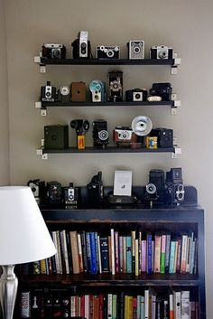 the bits of exposed metal on the shelf brackets echo the bits of metal on many of the vintage cameras