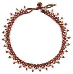 Free Beading Pattern: 'Diamonds & Lace' - Net Weave Necklace by Jann Christiansen aka Dancing Sea Designs