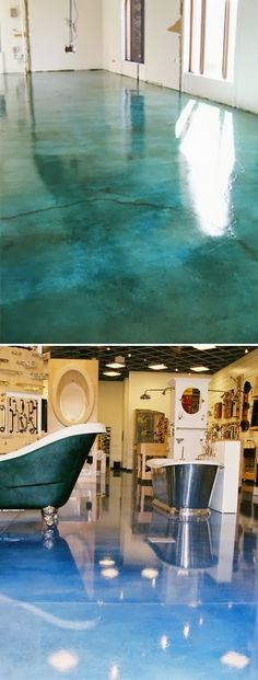to Apply an Acid-Stain Look to Concrete Flooring : How to Add Acid Stain to a Concrete.Do it sea foam green for the Beach House! S: How to Add Acid Stain to a Concrete.Do it sea foam green for the Beach House!