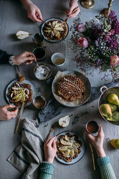 Apple Cinnamon Waffles w/Pears & Tea Infused Rosemary Coconut Syrup {GF}   Our Food Stories