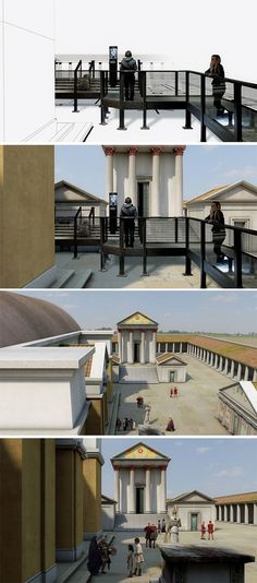 ISODESIGN   CGI Reconstruction – New Roman Baths, Bath   Performance videos & CGI environments presented at 1:1 scale in the newly modelled Roman Baths. A large group of characters were filmed performing a series of storylines around the activities that would have occurred amongst the original Bath Houses and Temples in Bath. Actors were shot in a large green screen studio using chroma key props and then dropped back into a CGI model we created and rendered to appear as naturalistic as…