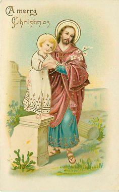 CHRISTMAS-JESUS HOLDING CHILD-RELIGIOUS ART-EARLY-Q38783