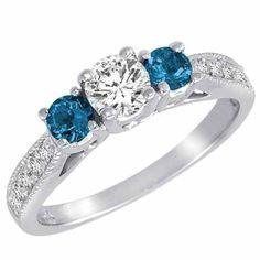 14K Gold 3 Stone Diamond and Blue Diamond Accented Engagement Ring With Milgrain Pave Set Shank (1 cttw) DivaDiamonds, http://www.amazon.com/dp/B00876NJ5M/ref=cm_sw_r_pi_dp_Eop8qb13QZVEH