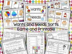 Wants and Needs: Charts, Games, and Printables