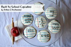 Storebought fondant and edible markers are all that's needed to create these fun back to school cupcakes! Find the full tutorial on my site by searching 'back to school cupcakes' in the sidebar. Teacher Cupcakes, School Cupcakes, School Cake, School Treats, School Snacks, Back To School Party, Back To School Gifts, School Parties, School Fun