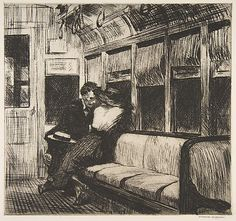 Edward Hopper - Night on the Train (Etching)